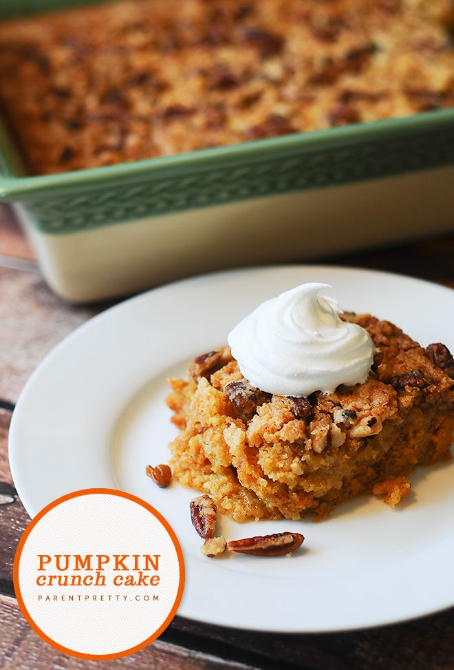 Pumpkin crunch cake! This is THE best fall dessert | ParentPretty.com | #pumpkin #dessert