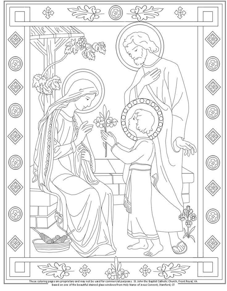 the holy family coloring page catholic coloring pages pinterest