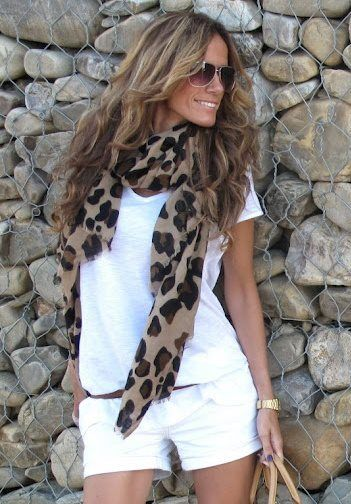 All white everything with a poppin' scarf!  Love the leopard.  Looks great with that brown hair and golden complexion.