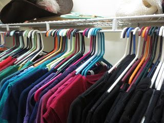 Stolen Moments: My Organization Obsession  Turn hangers around when you wear clothes. This will help you keep track of what you've worn!