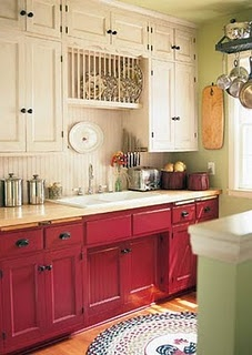 Loving the wainscoting and the red cabinets.  Am I getting old?
