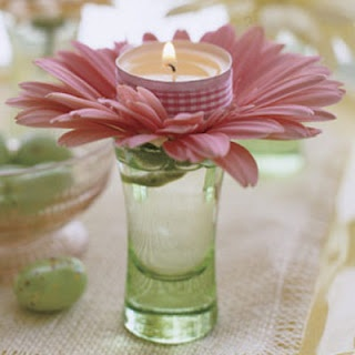 These tiny flowers and candles would be perfect for cocktail tables or on food stations! Simple but so cute!