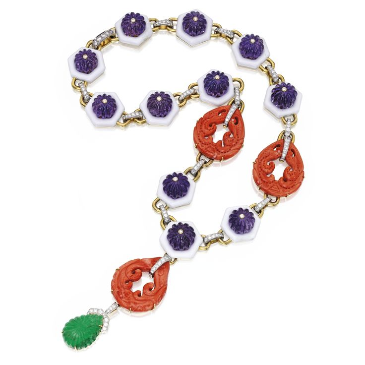 18 karat gold, platinum, emerald, diamond, coral, amethyst and enamel pendant-necklace, David Webb