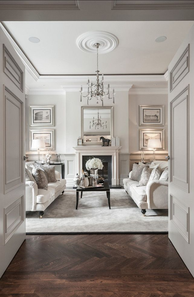 Living room Design. This is one of the most elegant formal living room I have seen. I love the architectural details, parquet wood floors an...