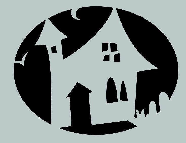 Haunted House Pumpkin Stencil