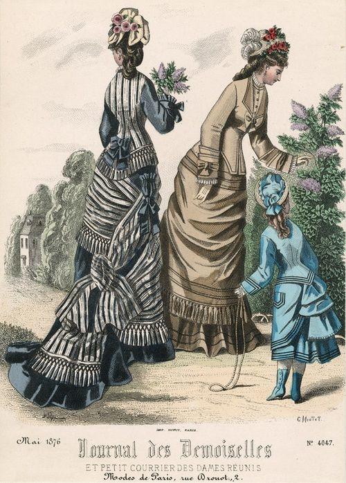 May fashions, 1876 France, Journal des Demoiselles et Petit Courrier des Dames Réunis