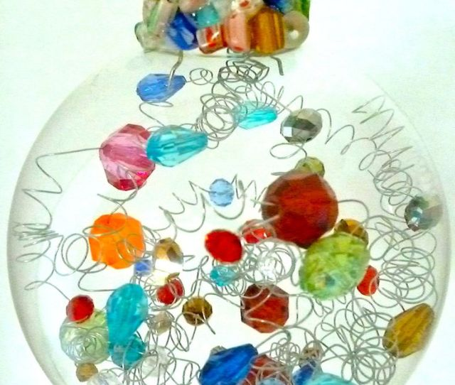 I Like This Idea Clear Glass Ball With Beads And Wire Spirals Inside