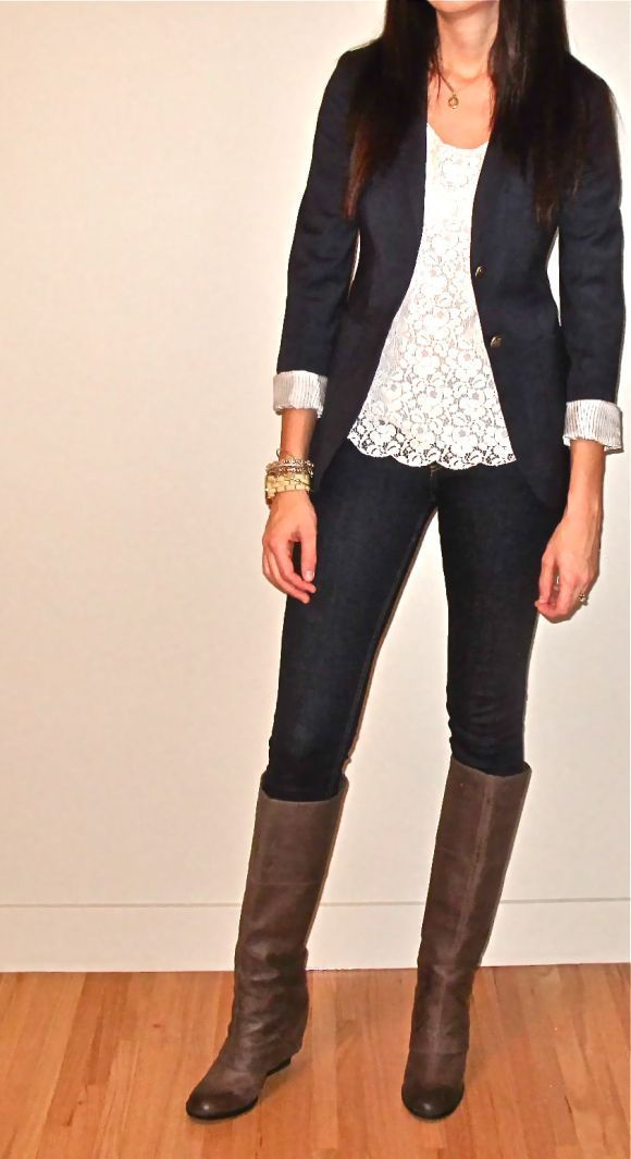 Gorgeous lace, blazer and boots combo fashion. . . click on pic to see more