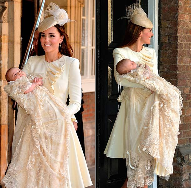 Prince George christening: Proud mum Kate stuns in elegant ivory outfit