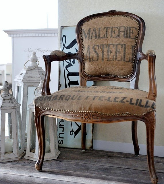 French chair in burlap & ofcourse who would luv this @Danielle Smith!