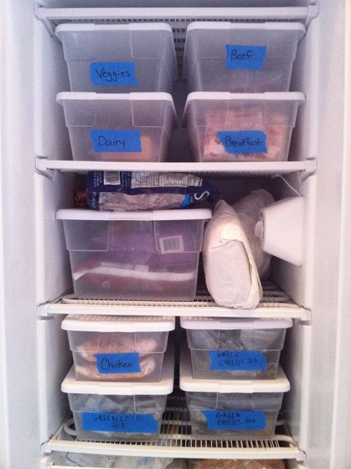 Freezer Organization with Plastic Bins and Painter's Tape
