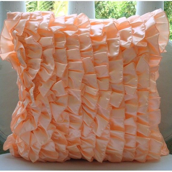 Decorative Throw Pillow Covers Couch Pillow Case Sofa Pillows Bed Toss Pillows 18x18 Peach Satin Ruffle Pillow Cover Vintage Peach Sorbet