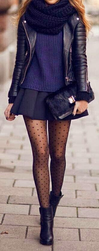 Polka dot tights, skirt, blue knit jersey, black leather jacket, black boots, winter, casual, smart, formal