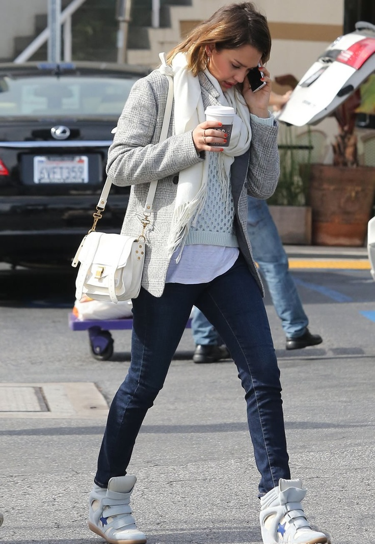 Jessica Alba in wedge sneakers_ street style  Oh no! We're going there again?
