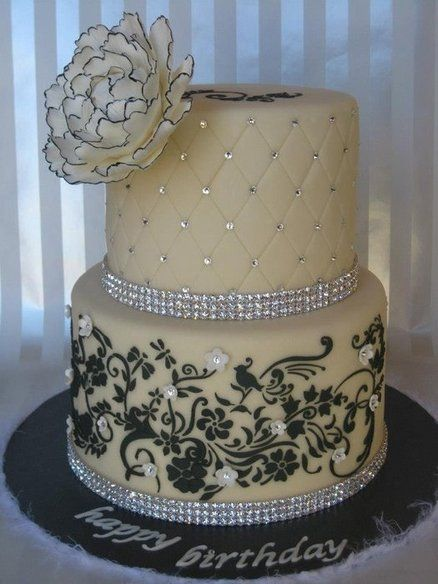 Elegance in Black, White with Glitz and hand painted  Wedding  cake ~ all edible