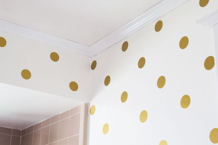 Gold Polka Dot Bathroom Walls by Sarah Hearts