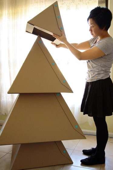 DIY cardboard Christmas tree #cardboard #christmas #tree