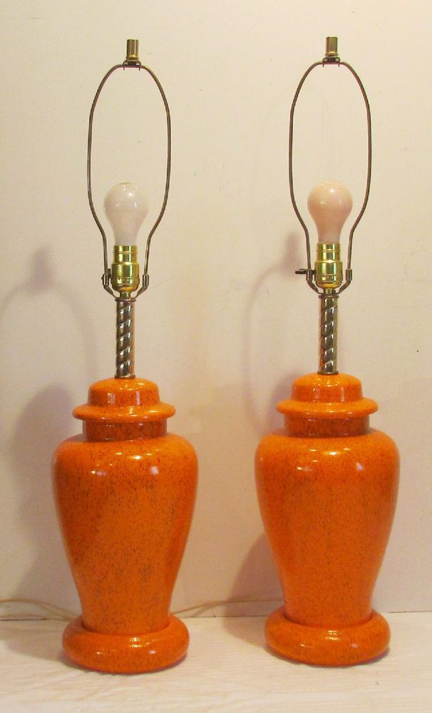 Vintage pair (2)  mid century 1970's orange ginger jar table lamps
