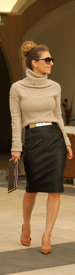 Fall / winter - work outfit - business casual - leather pencil skirt + camel turtleneck sweater + black stilettos + metallic belt