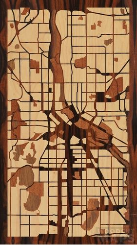 Woodcut Maps: Handcrafted wood-inlay maps, designed by you.