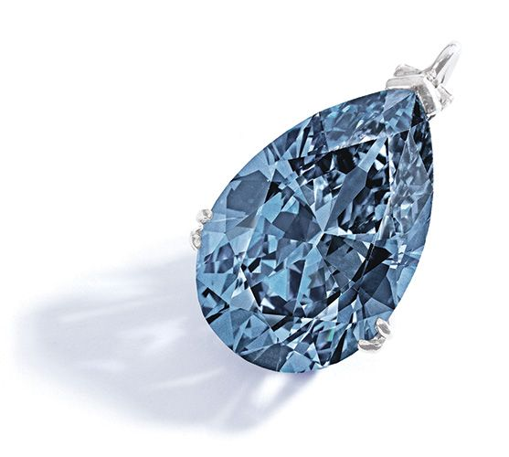 A Magnificent and Rare Fancy Vivid Blue Diamond Pendant The pear-shaped Fancy Vivid Blue diamond weighing 9.75 carats, mounted in platinum. Accompanied by a GIA report stating that the diamond is Fancy Vivid Blue, Natural Color, VVS2 clarity, potentially internally flawless. Estimate $10/15 million. Photo: Sotheby's