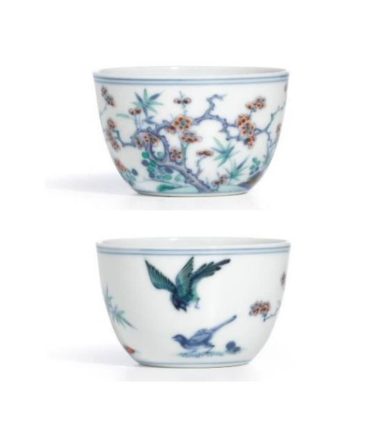"A Fine Doucai ""Magpies And Prunus"" Cup Mark And Period Of Yongzheng 6.9 cm HK$1.2 – 1.5 million / US$150,000 – 190,000"