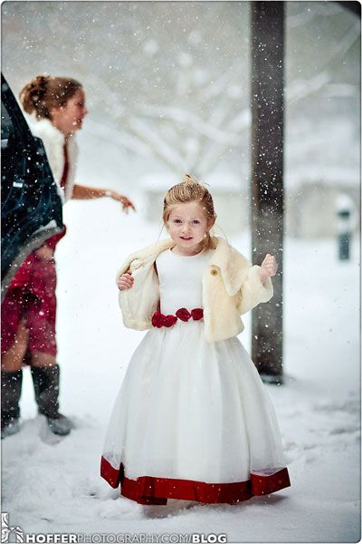Christmas Flower Girl dress trimmed in red - perfect