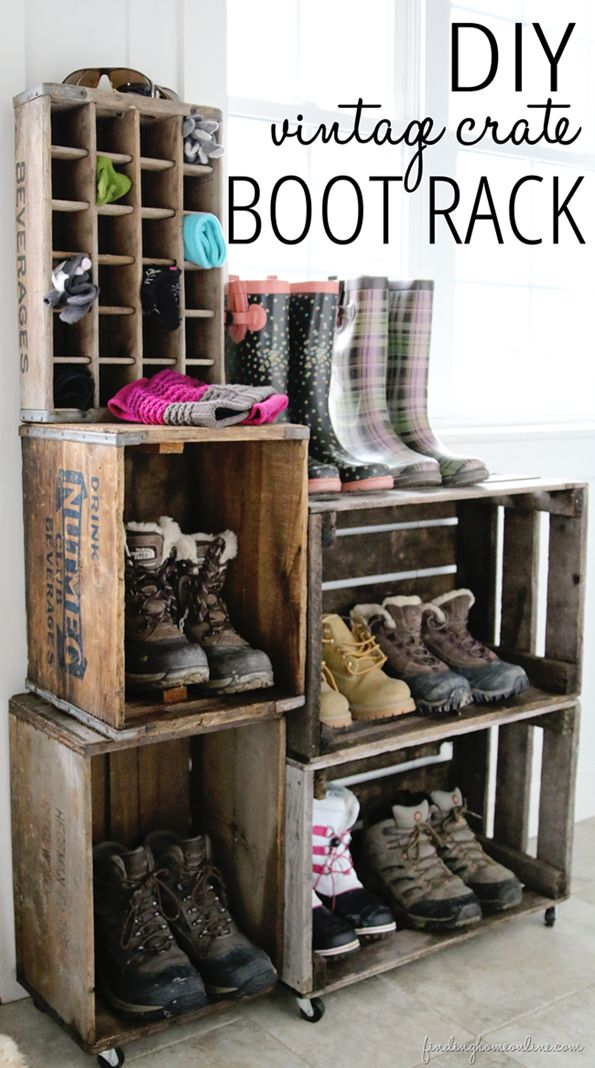DIY Vintage Crate Boot Rack~Tutorial