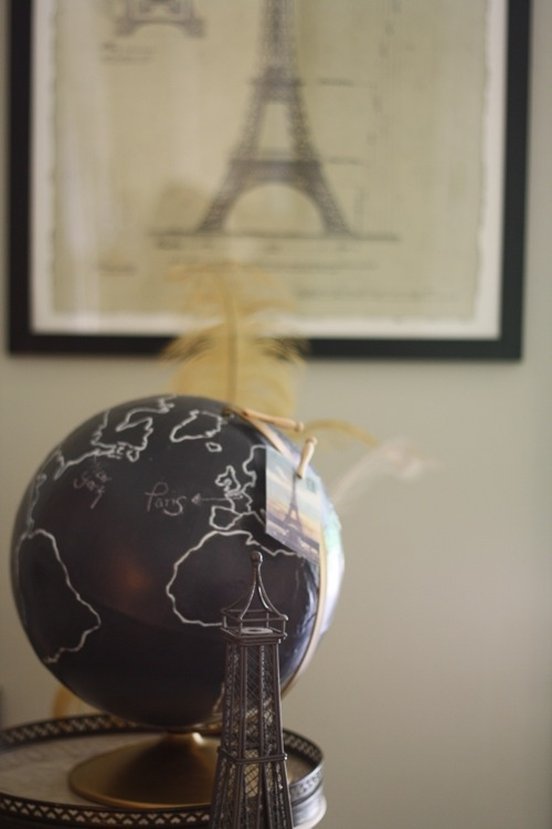 globe with blackboard paint