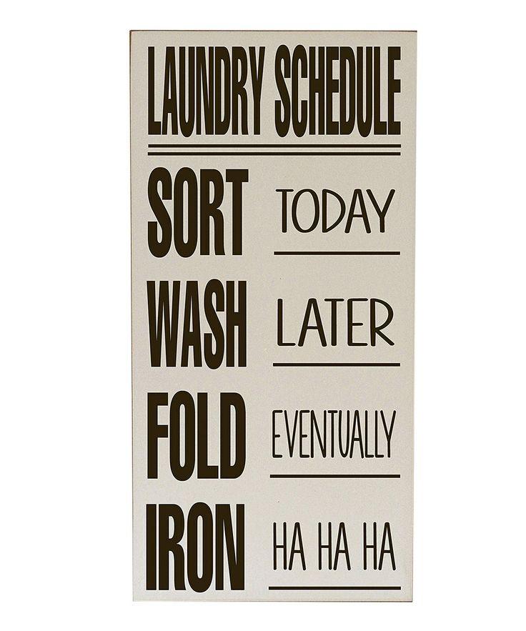Cream & Brown Laundry Schedule Wall Art