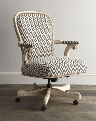 Cocoa Chevron Desk Chair by Old Hickory Tannery at Horchow. LOVE this