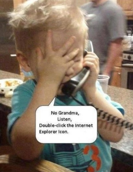 kids helps grandma with technology