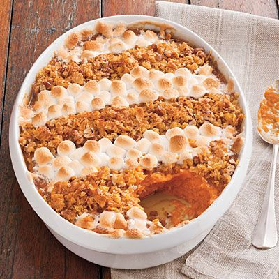 Cornflake, Pecan, and Marshmallow-Topped Sweet Potato Casserole Recipe -Thanksgiving Side Dish Recipes