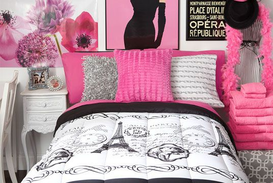 Welcome To Your Dorm Paris Deep Pink Bedding Set Now