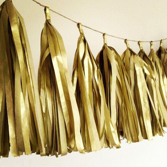 Heart of Gold ... tissue paper tassel garland // wedding decorations // new year // nye // metallic gold