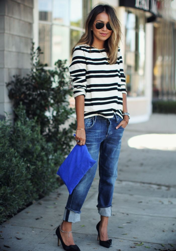 boyfriend jeans and stripe top