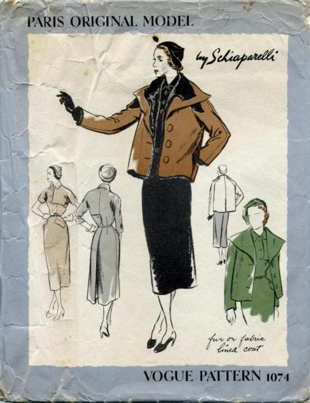 1940s Schiaparelli coat and dress pattern - Vogue 1074