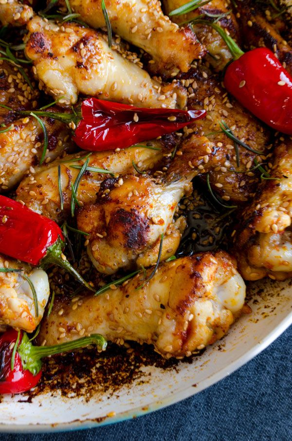 Honey Sesame Chicken Wings | giverecipe.com | #chicken #sesame
