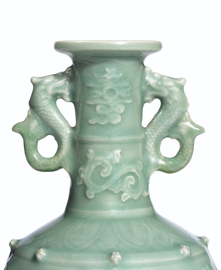 AN EXCEPTIONAL AND EXTREMELY RARE CELADON APPLIQUE-DECORATED 'DRAGON' VASE<br>YUAN DYNASTY   Lot   Sotheby's