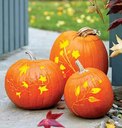 Forget slicing a jack-o'-lantern's mug into your pretty pumpkin. Instead, lightly etch a leafy pattern for festive yet elegant outdoor decor. Leafy Pumpkins How-To