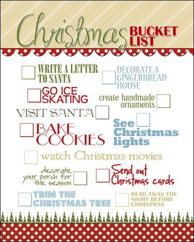 Printable -- Christmas Bucket List