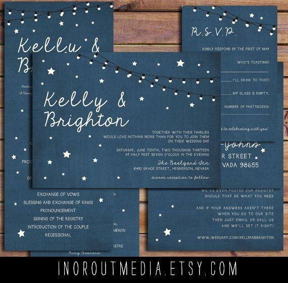 Rustic Wedding Invitations - Starry Nights, suite, strung lights, stars, outdoor wedding, evening wedding, Invitations, wedding program