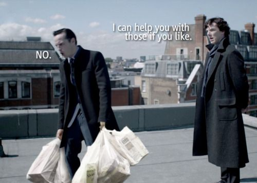 BBC Sherlock and Moriarty with groceries image