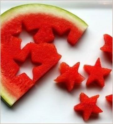 Cut watermelon slices with a cookie cutter, then use for desserts or infused water. Add blueberries for some blue and you've got the perfect edible 4th of July accessory...