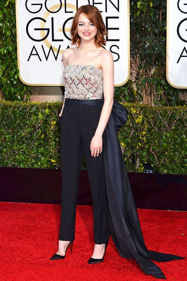 Emma-Stone-tapis-rouge-Golde-Globe-Awards-pantalon