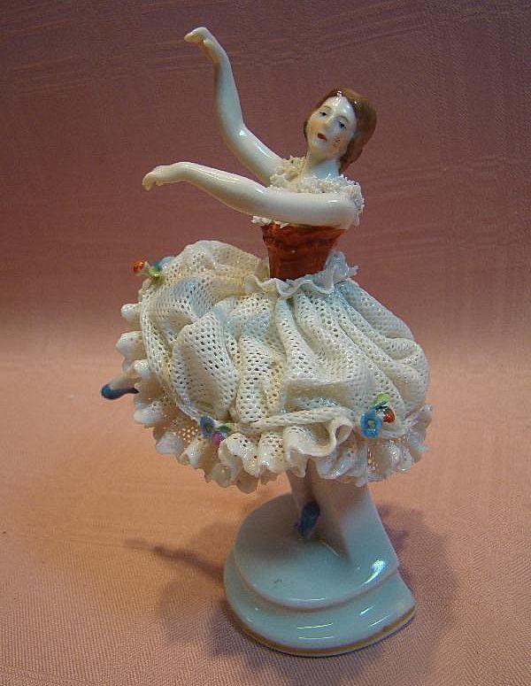 Dresden Porcelain Dolls | Graceful German Dresden Porcelain Figurine of Ballet Dancer from ...
