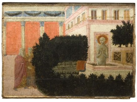 Francesco di Giorgio Martini,  Susanna at the Elders,   C 1460,  Inv. 275,  tempera and gold on panel, 30 x 40 cm,  Siena, Pinacoteca Nazionale.