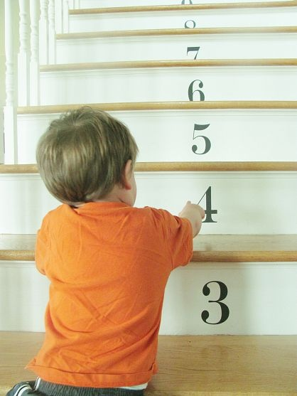 Numbered decals on stairs as a learning tool for kids - fun idea for Basement steps. Add a picture of three of something etc, beside it.
