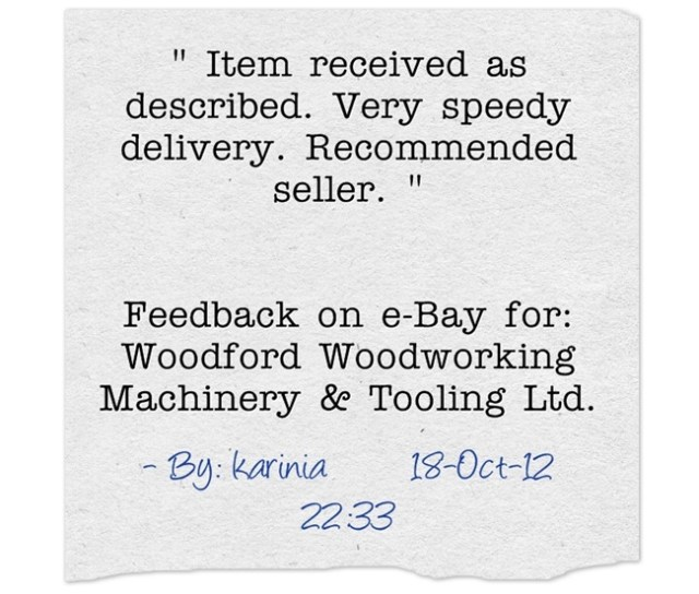 Item received as described. Very speedy delivery. Recommended seller