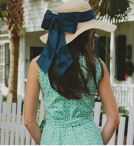 Pretty dress and straw hat.